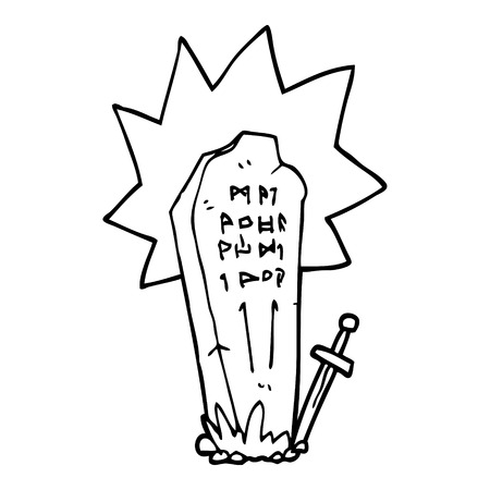 line drawing cartoon of a heros grave Illustration