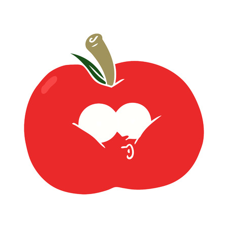 flat color style cartoon apple 일러스트