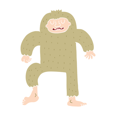 flat color style cartoon bigfoot