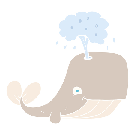 flat color illustration of whale spouting water