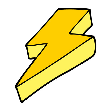 cartoon doodle thunder bolt