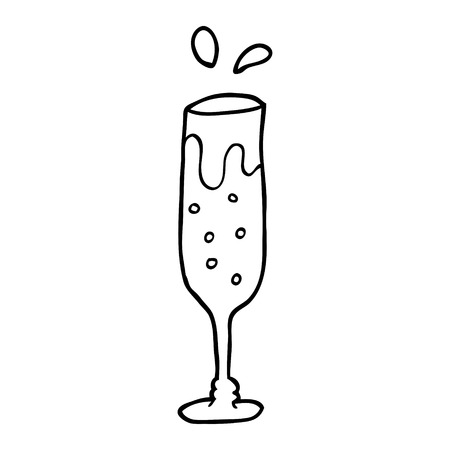 line drawing cartoon glass of champagne