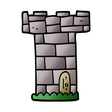 cartoon doodle castle tower