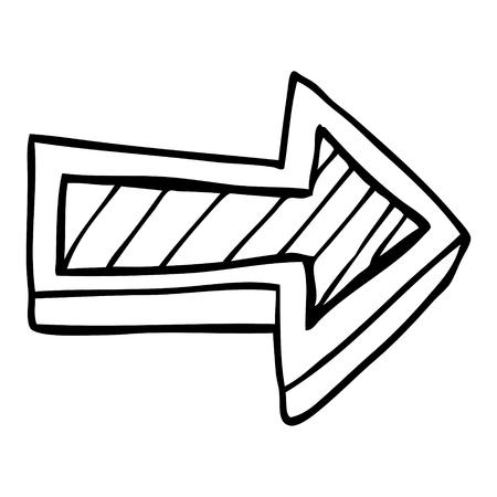 dibujo lineal de dibujos animados que dirige la flecha