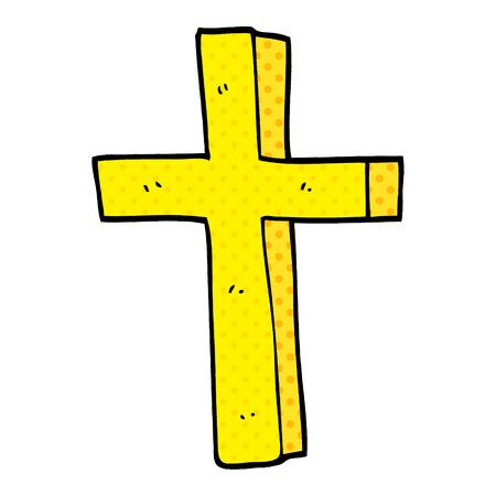 cartoon doodle of a gold cross