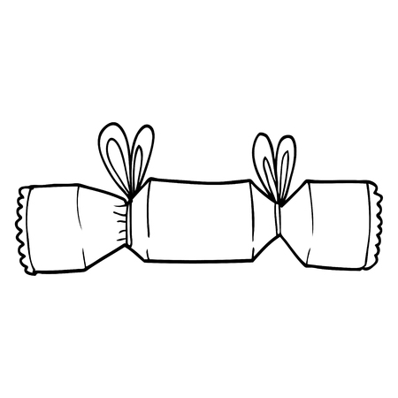 line drawing cartoon christmas cracker