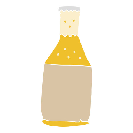 flat color style cartoon beer bottle