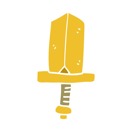 cartoon doodle gold dagger