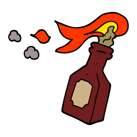 cartoon doodle molotov cocktail