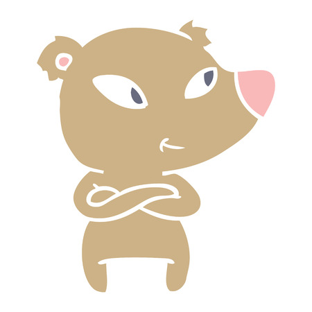 cute flat color style cartoon bear with crossed arms
