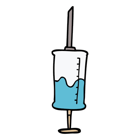 cartoon doodle vaccine injection