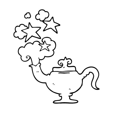 line drawing cartoon magic lamp