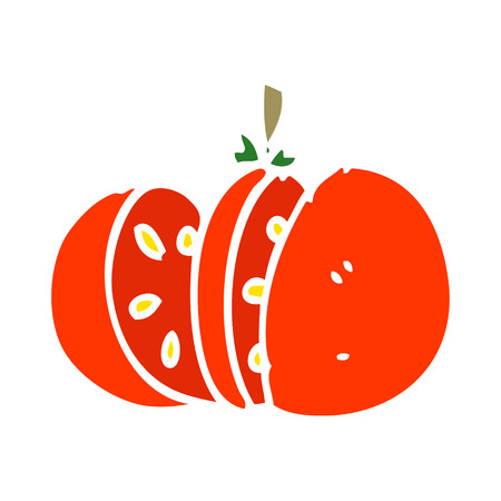 cartoon doodle sliced tomato