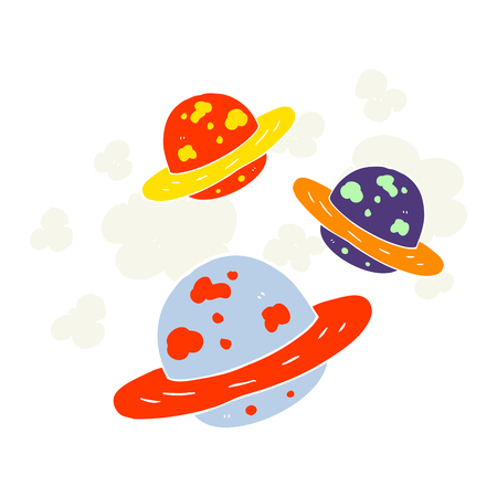 flat color illustration of planets