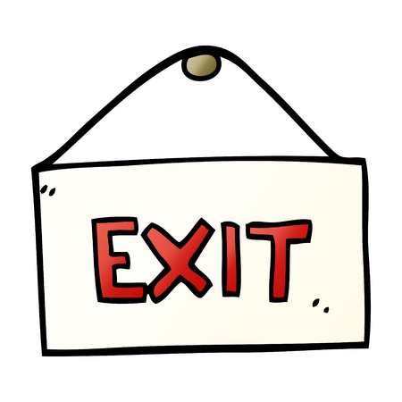 cartoon doodle exit sign