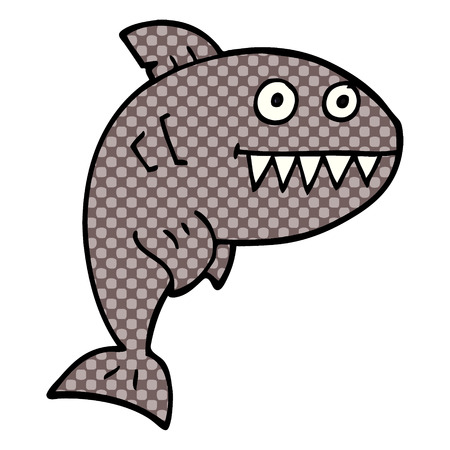cartoon doodle deadly shark Иллюстрация