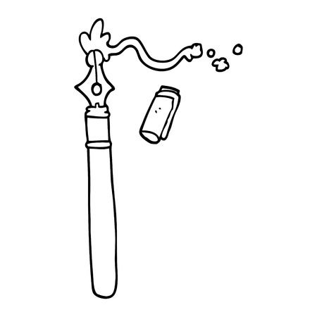 line drawing cartoon fountain pen Banque d'images - 110854025