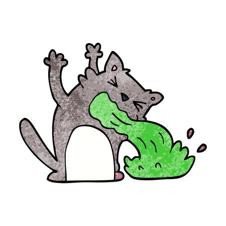 cartoon doodle of an ill cat Ilustração