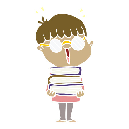 flat color style cartoon boy with amazing books