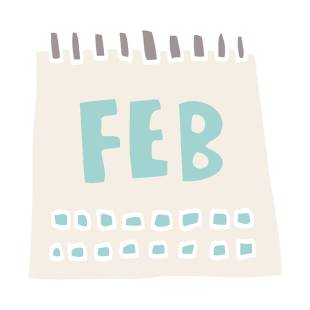 cartoon doodle calendar showing month of february