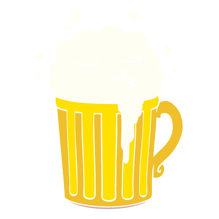 flat color style cartoon mug of beer