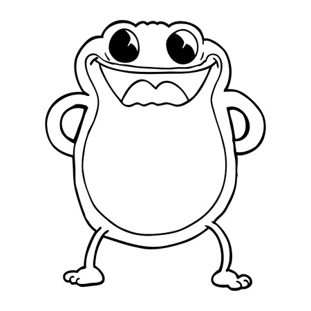 line drawing cartoon frog Stock Illustratie