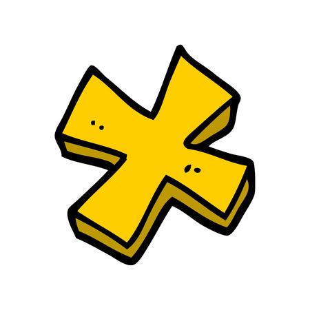 símbolo de multiplicación de doodle de dibujos animados