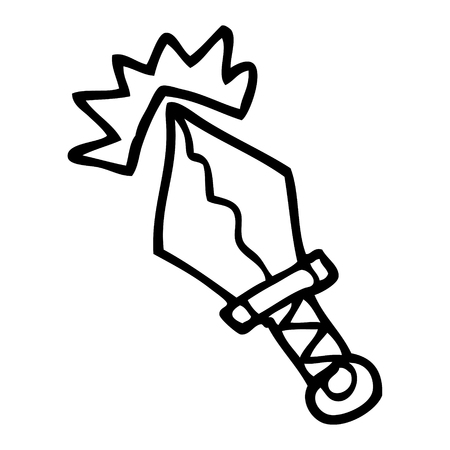 line drawing cartoon small magical dagger