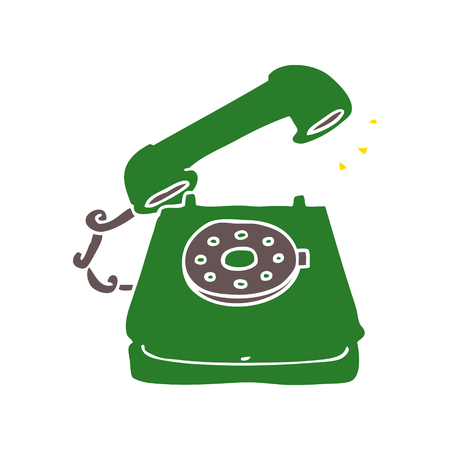 flat color style cartoon old telephone
