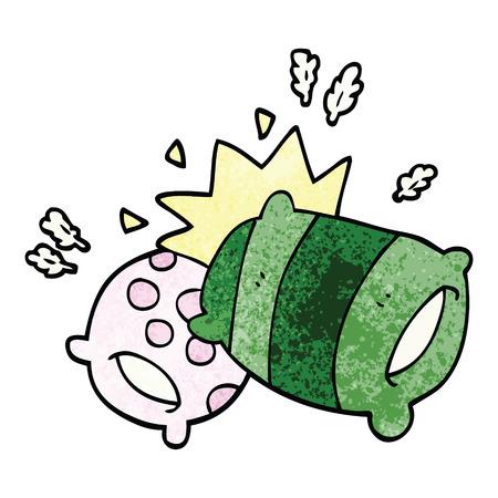 dibujos animados doodle almohadas Ilustración de vector