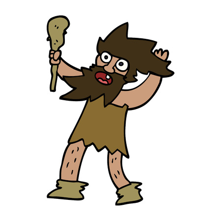 cartoon doodle cave man Stock Illustratie