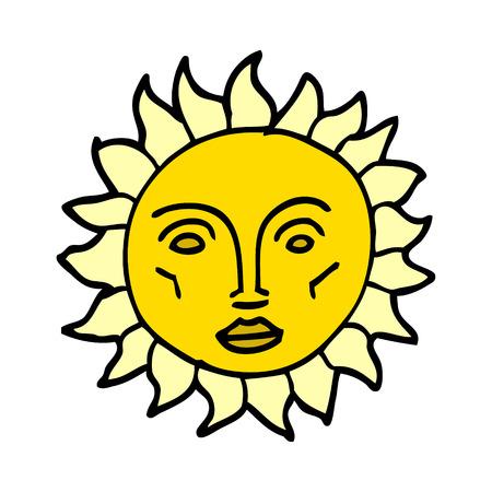 cartoon doodle traditional sun face Banque d'images - 110854337