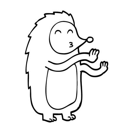 line drawing cartoon dancing hedgehog