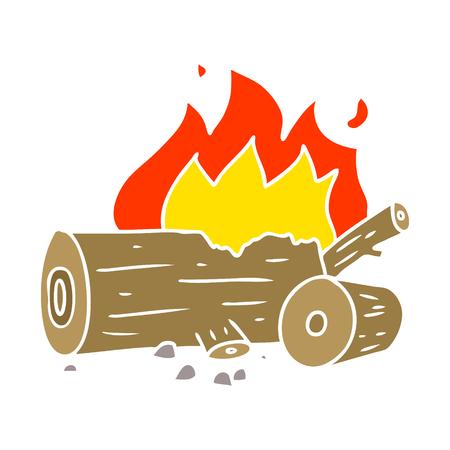 flat color style cartoon camp fire