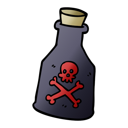 cartoon doodle poison bottle