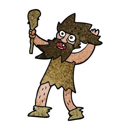 cartoon doodle cave man Illustration