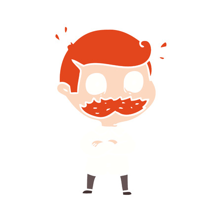 flat color style cartoon man with mustache shocked