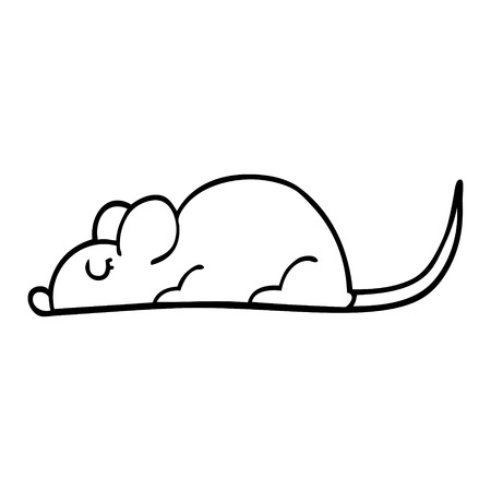 line drawing cartoon black rat Illustration