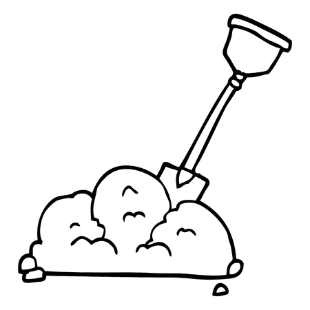 line drawing cartoon shovel in dirt