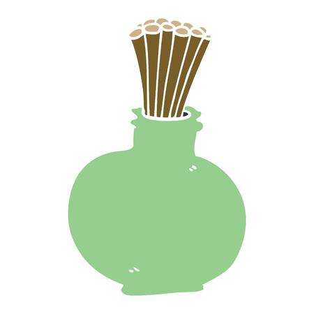 cartoon doodle reeds in vase Çizim