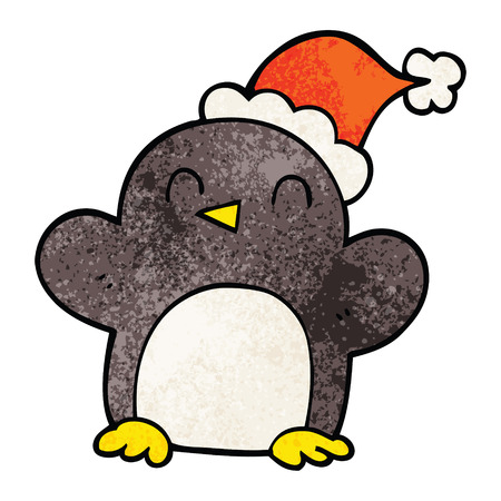 cartoon doodle penguin wearing christmas hat Illustration