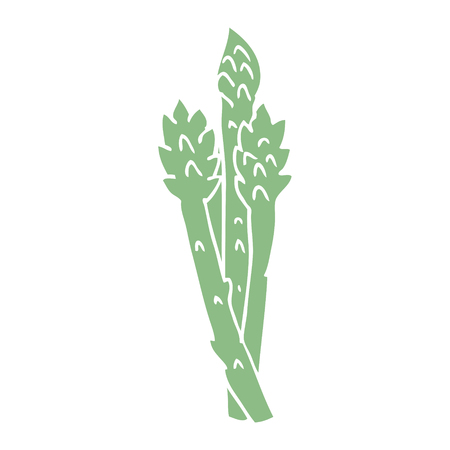 cartoon doodle asparagus plant Illustration