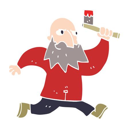 cartoon doodle man with bloody axe