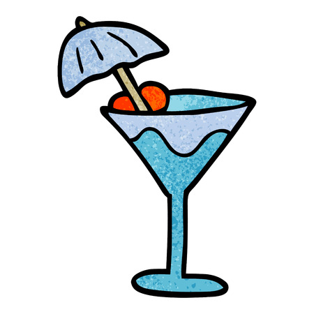 cartoon doodle martini drink