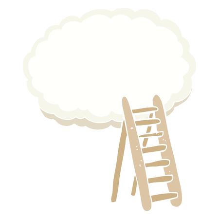 flat color illustration of ladder to heaven