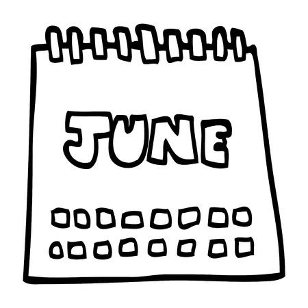 line drawing cartoon calendar showing month of june
