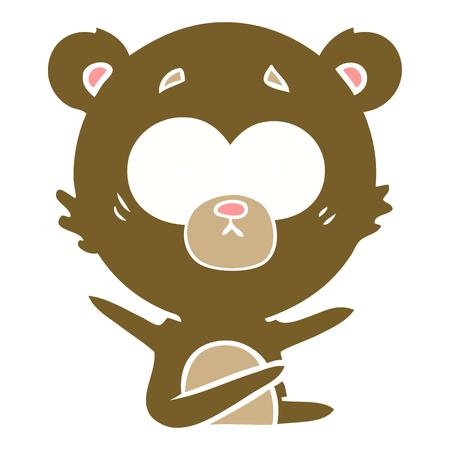 surprised bear flat color style cartoon