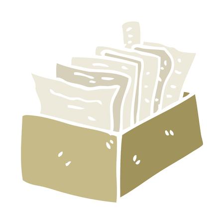 cartoon doodle box of files