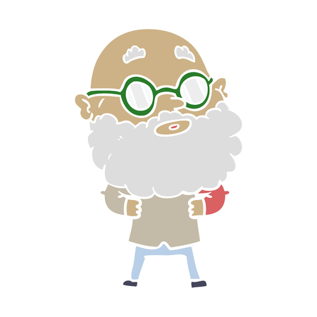 flat color style cartoon curious man with beard and glasses Ilustração