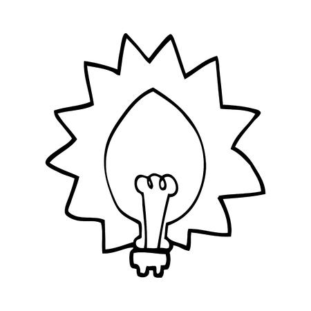 line drawing cartoon light bulb Ilustracja